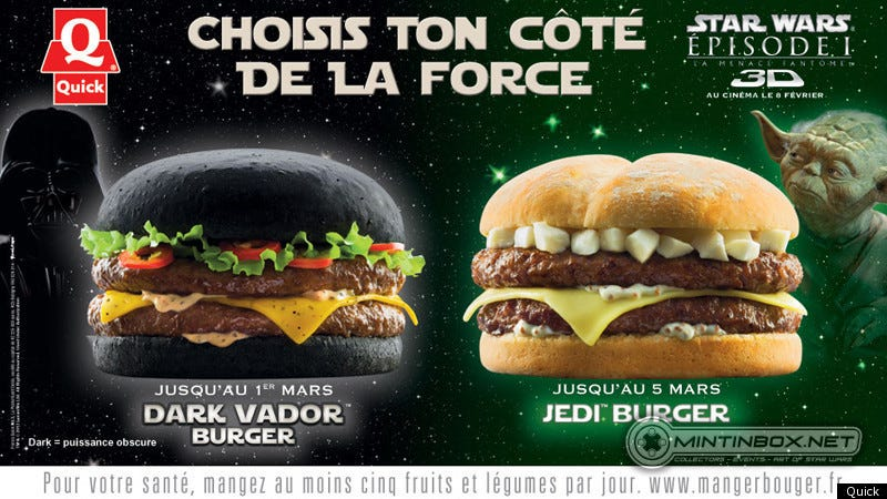 Illustration for article titled French fast food chain offers Darth Vader burger with black Dark Side bun