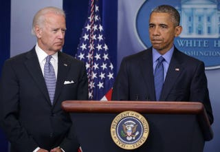 President Barack Obama, flanked by Vice President Joseph Biden, makes a statement regarding the shooting in Charleston, S.C., June 18, 2015, at the James Brady Press Briefing Room of the White House in Washington, D.C.Alex Wong/Getty Images