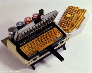 Illustration for article titled Typewriter Waffle Maker Serves Up Belgian QWERTYs