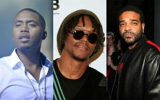 Nas (Valley Jean/FilmMagic/Getty); Lupe Fiasco (Joe Kohen/Getty);Jim Jones (Johnny Nunez/WireImage/Getty)
