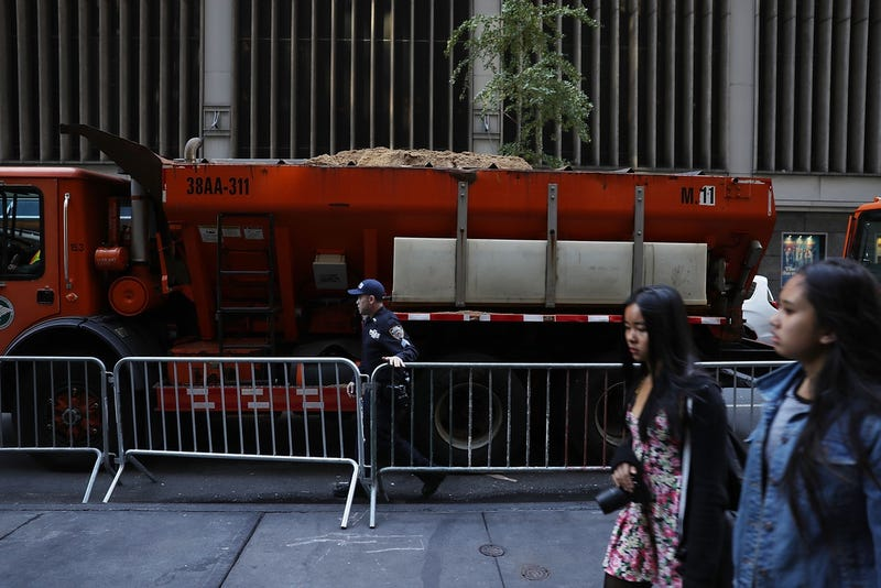Sand trucks in Midtown Manhattan on November 8, 2016 (Photo by Joe Raedle/Getty Images)