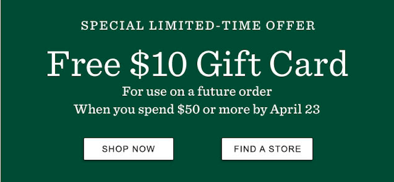 $10 Gift Card with any $50 purchase at L.L.Bean