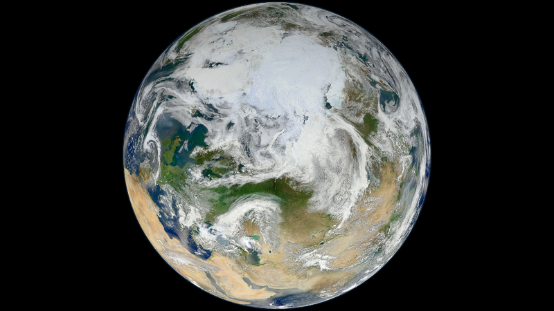 A view of Earth's north polar regions