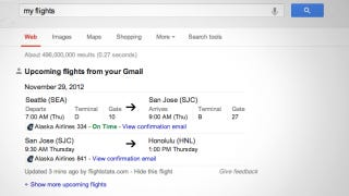 Illustration for article titled Google Search Detects the Status of Your Upcoming Flights, Sends You Reminder Notifications