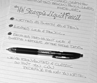 Illustration for article titled Sharpie's Liquid Pencil is Erasable for 24 Hours and Then Permanent Forevermore