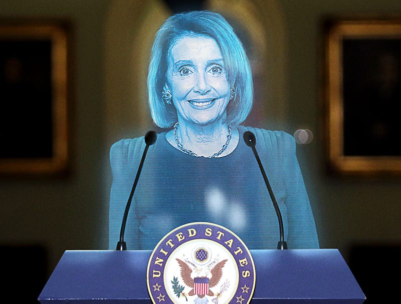 Illustration for article titled 2078 Nancy Pelosi Hologram Nominated For 38th Term In House As Party Leader