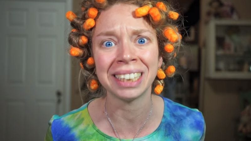 Curling My Hair With Cheetos (Screenshot: YouTube)