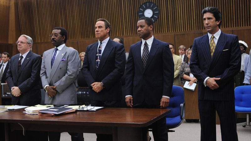 """Illustration for article titled O.J. Simpson pleads """"absolutely 100 percent not guilty"""" on American Crime Story"""