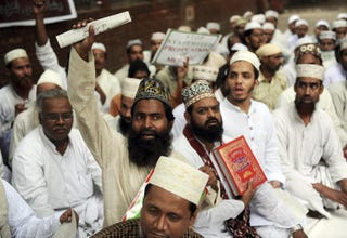 Muslims at Aug. 4, 2010, protest in New Delhi against planned burningof the Quran in U.S. (Raveendran/AFP/Getty Images)