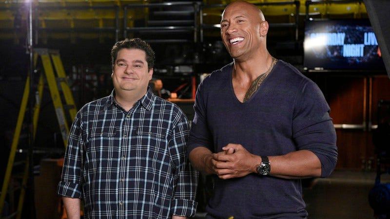 (L-R, or is it R-L?) Bobby Moynihan, Dwayne Johnson (Dana Edelson, NBC)