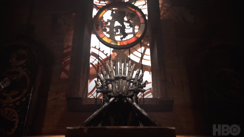 The Iron Throne sitting in King's Landing.