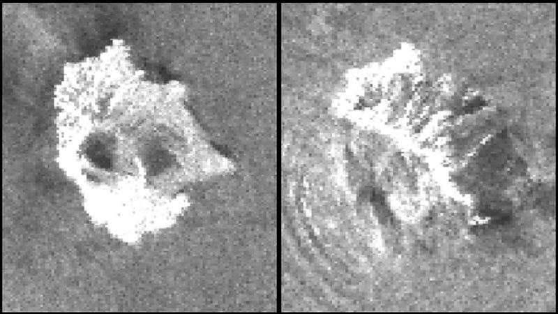 A la izquierda, el volcán antes de los desplazamientos de tierra. A la derecha, después del tsunami.