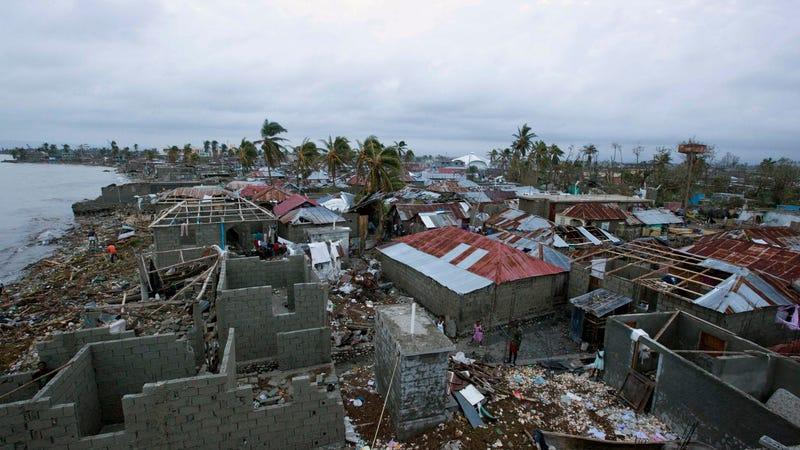 Homes lay in ruins after the passing of Hurricane Matthew in Les Cayes, Haiti, Thursday, Oct. 6, 2016. Two days after the storm rampaged across the country's remote southwestern peninsula, authorities and aid workers still lack a clear picture of what they fear is the country's biggest disaster in years.