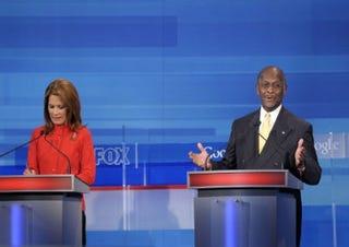 GOP presidential debate: Michele Bachmann and Herman Cain  (Getty)