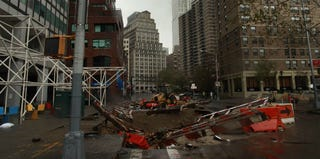 Damage in downtown Manhattan (Timothy A. Clary/AFP/Getty Images)