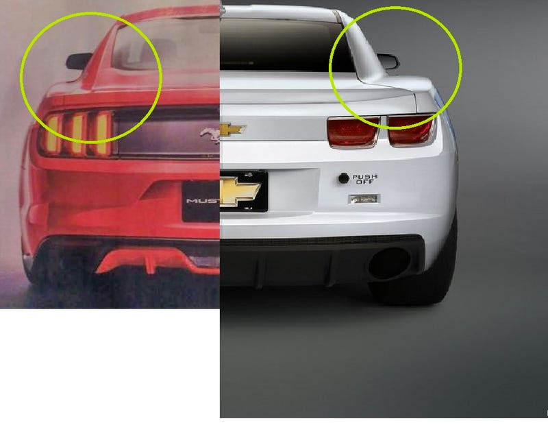 Illustration for article titled 2015 Mustang rear vs Camaro rear end