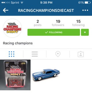 Illustration for article titled Racing Champions has a IG now!