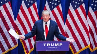 Business mogul Donald Trump gives a speech as he announces his candidacy for the U.S. presidency at Trump Plaza June 16, 2015, in New York City.Christopher Gregory/Getty Images