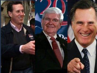 GOP presidential candidates Rick Santorum; Newt Gingrich;Mitt Romney (Getty Images)