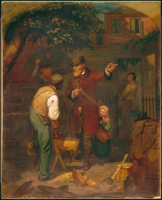 Charles Felix Blauvelt, A German Immigrant Inquiring his Way, 1855. Oil on canvas, 91.8 by 73.7 cm.The North Carolina State Museum of Art, Raleigh, N.C.