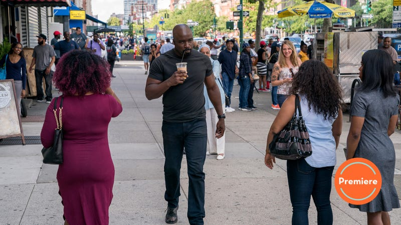 Mike Colter as Luke Cage and the women of Harlem breaking their necks