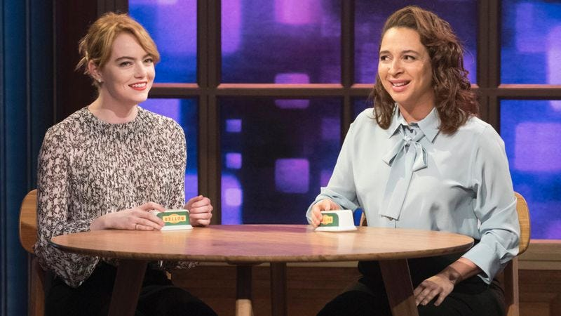 Emma Stone (left) and Maya Rudolph on Maya & Marty (Photo: Virginia Sherwood/NBC)