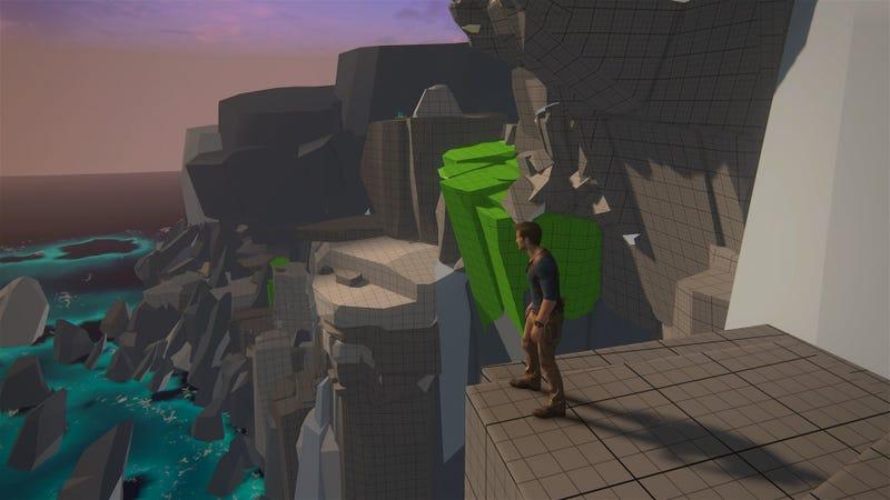 A blocked out level of Uncharted 4 (via designer Emilia Schatz)