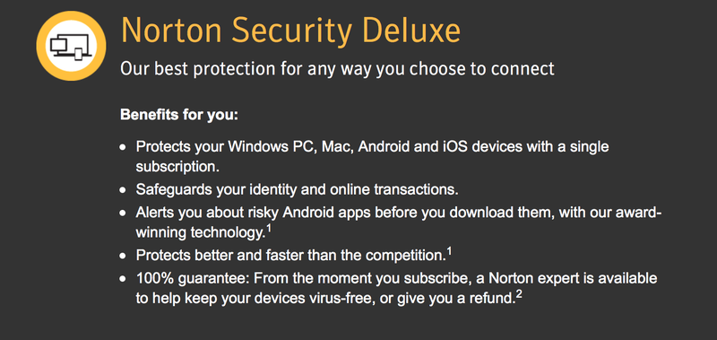 1-Year Norton Security Deluxe Subscription, $30
