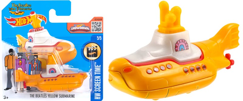 Illustration for article titled You Can Now Add The Beatles' Yellow Submarine to Your Hot Wheels Collection