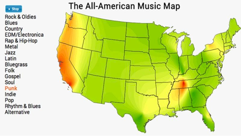 Illustration for article titled The All-American Music Map tracks each region's genre tastes, fuels your elitism