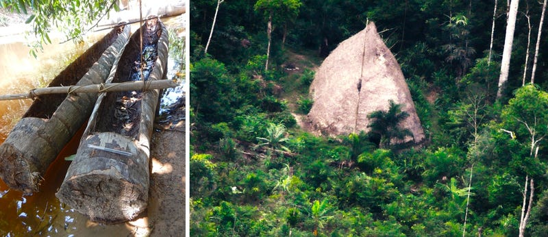 Canoes built by an unknown tribe in Brazil (left) and a hut constructed by that same tribe (right)