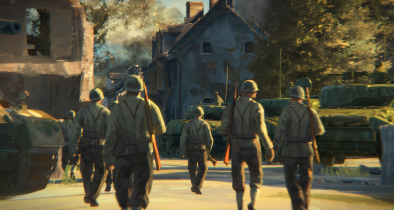 Concept art for Steel Division: Normandy 44 from the game's trailer.