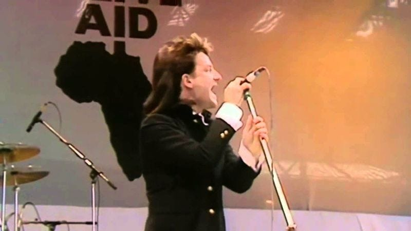"U2 performing ""Sunday Bloody Sunday"" at Live Aid in 1985"