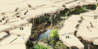 Illustration for article titled Abu Dhabi's New Park Will Hide a 30-Acre Oasis Below the Desert