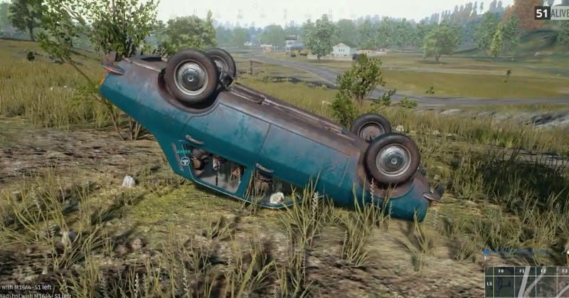 Illustration for article titled PlayerUnknown's Battlegrounds Players Win Match By Staying In Their Own Flipped Car