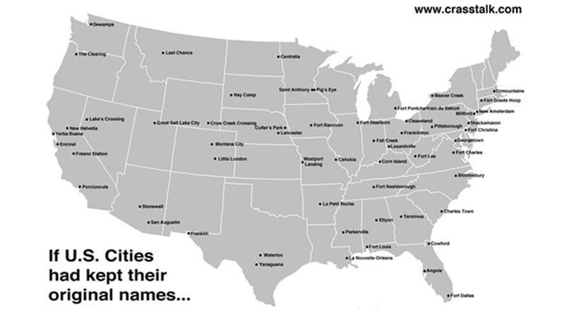 Illustration for article titled What If US Cities Had Kept Their Original Names?