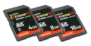 Illustration for article titled Sandisk Exreme III SDHC Cards Blaze Along at 30MBps, 50% Faster than Before