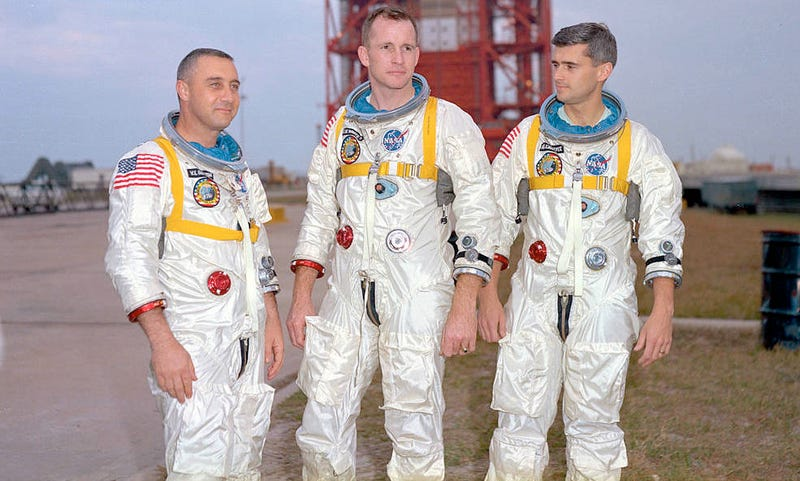 "Astronauts Roger Chaffee, Virgil ""Gus"" Grissom, and Ed White perished in the Apollo 1 disaster 50 years ago today. Image: NASA"