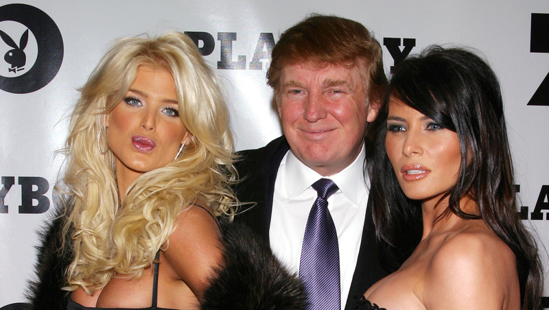 Donald and Melania Trump with playmate Victoria Silvstedt at Playboy's 50th Anniversary party. Image via Getty.