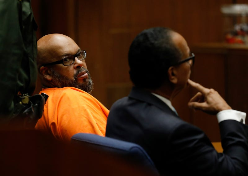 "Former rap mogul Marion ""Suge"" Knight, left with his defense attorney Albert DeBlanc Jr., pleads no contest to voluntary manslaughter Sept. 20, 2018, in Los Angeles Superior Court."