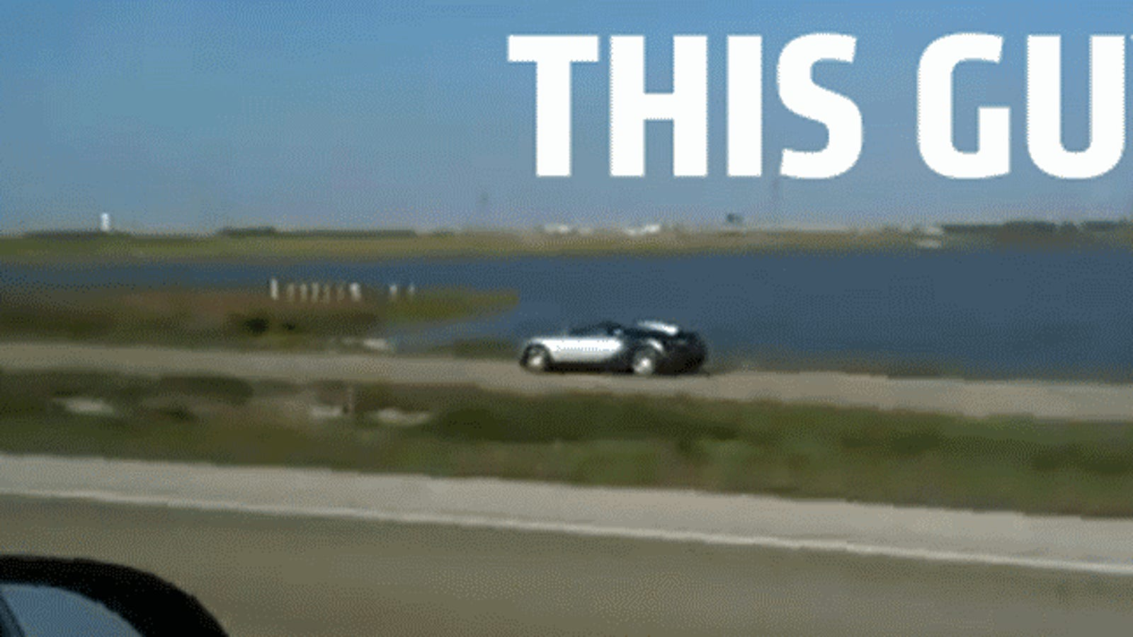 Bugatti drives into lake