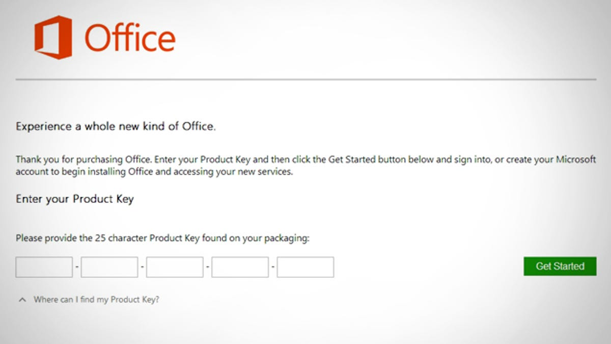 outlook 2013 change product key
