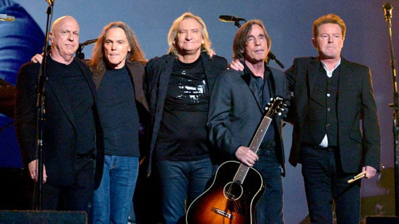 The surviving Eagles with Jackson Browne at the Grammys' Glenn Frey tribute (Photo: Lester Cohen/Getty Images)