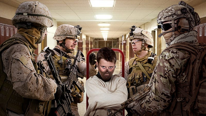Illustration for article titled Seems Extreme: Jacob Farted During Math And The Marines Wheeled Him Out Of The Classroom In One Of Those Hannibal Lecter Straitjacket Things With The Muzzle