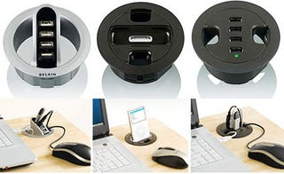 Illustration for article titled Belkin Grommet-Hole USB Hubs, iPod Dock: Genius!
