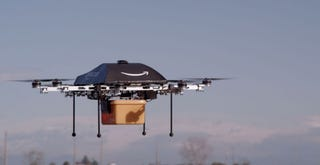 Illustration for article titled Amazon Is Testing Its Delivery Drones in a Secret Location in Canada