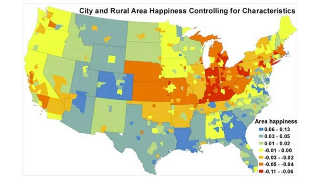 This Map Shows Where the Happiest and Unhappiest People Live in the US