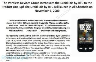 Illustration for article titled Leaked Docs Confirm Droid Eris Details: November 6 for $99