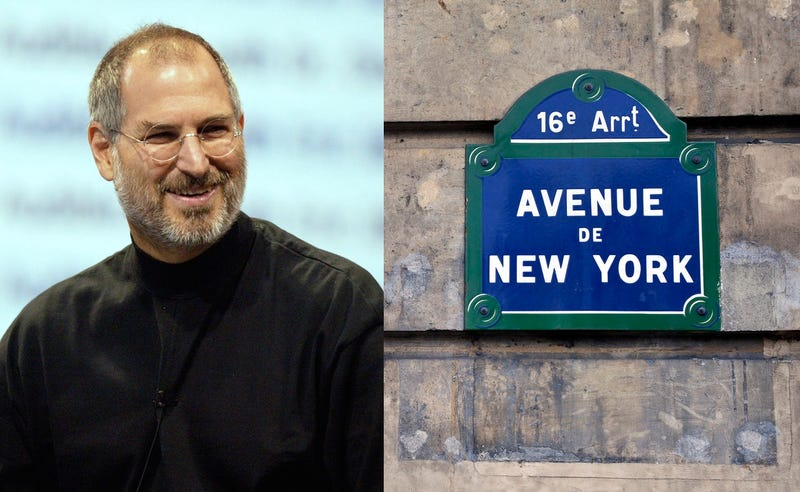 Former Apple CEO Steve Jobs in 2003 (left) Parisian street sign on old building wall with the Avenue de New York street name written on it (Photo by: Eye Ubiquitous/UIG via Getty Images)
