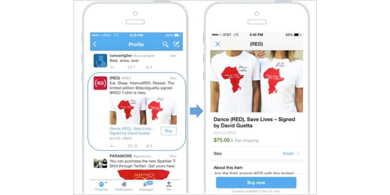 "Illustration for article titled Twitter's New ""Buy"" Button Lets You Make In-Tweet Purchases"